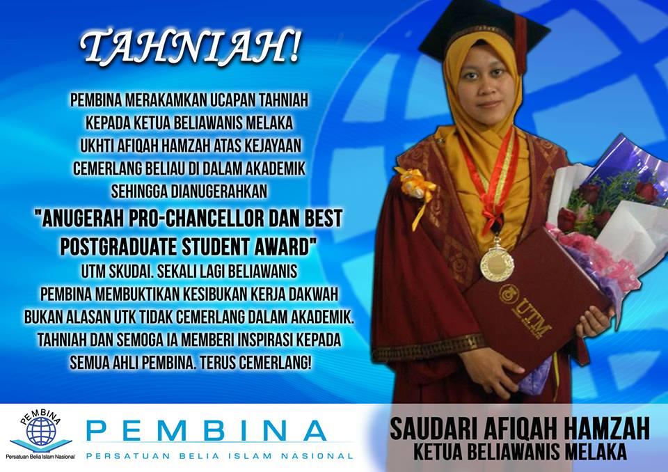 Tahniah Ketua Beliawanis Melaka Atas Kejayaan Yang Membanggakan Persatuan Belia Islam Nasional Pembina